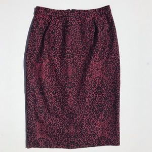 Halogen Red & Black Animal Print Pencil Skirt Sz 6